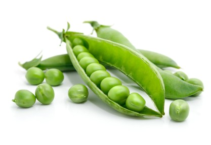 A selection of peas in a pod.